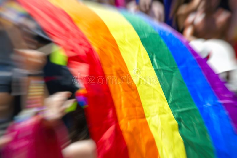 Gay rainbow flag, abstract motion blur effect.  stock photo