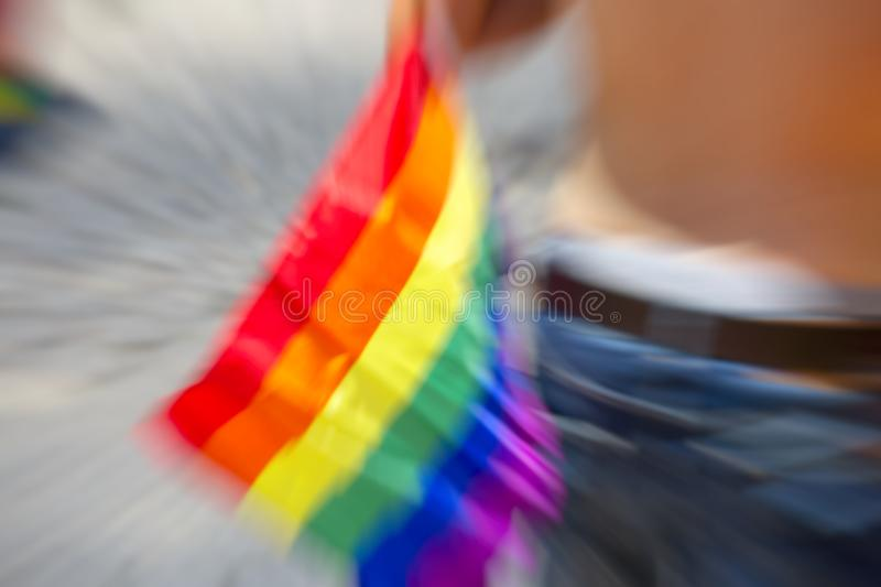 Gay rainbow flag, abstract motion blur effect. Gay rainbow flag, abstract motion blur effect royalty free stock photography