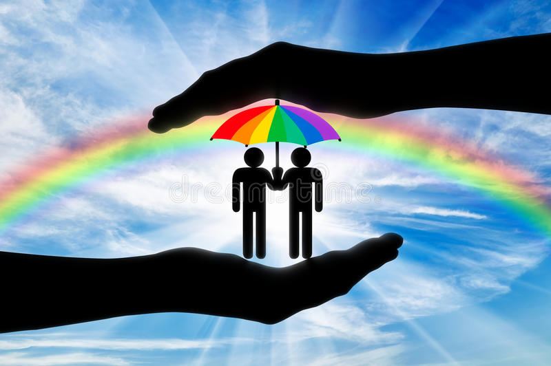 Gay rights notion. Icons of two gays with a rainbow umbrella in hand on a background of iridescent sky vector illustration