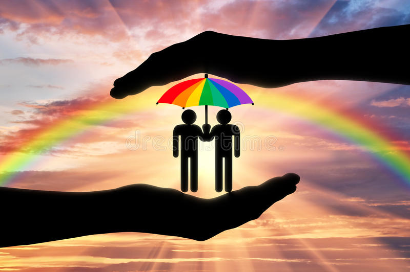 Gay rights notion. Icons of two gays with a rainbow umbrella in hand on a background of iridescent sky royalty free illustration