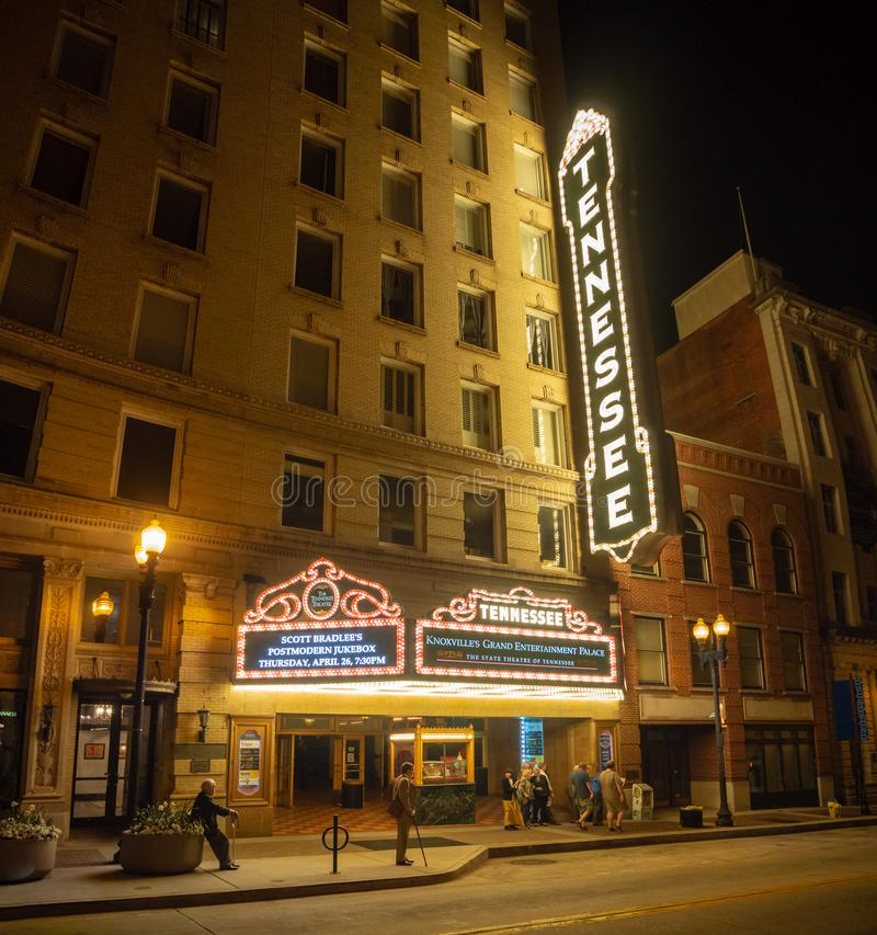 Gay Street, Knoxville, Tennessee, Night life in the center of Knoxville. Gay Street, Knoxville, Tennessee, United States of America, summer 2018: [Night life in royalty free stock image