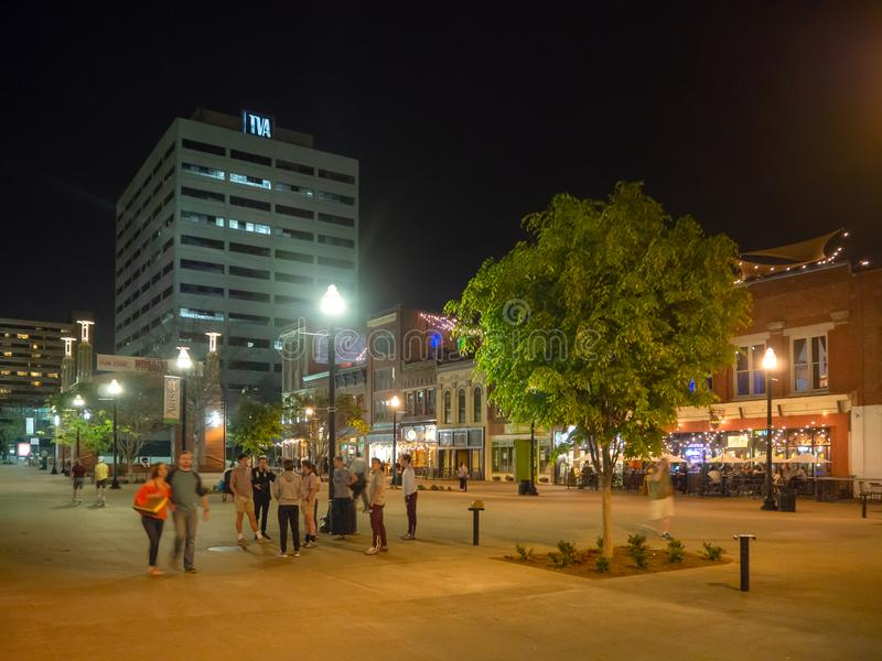 Gay Street, Knoxville, Tennessee, United States of America: [Night life in the center of Knoxville]. Market Square, Knoxville, Tennessee, United States of stock photos