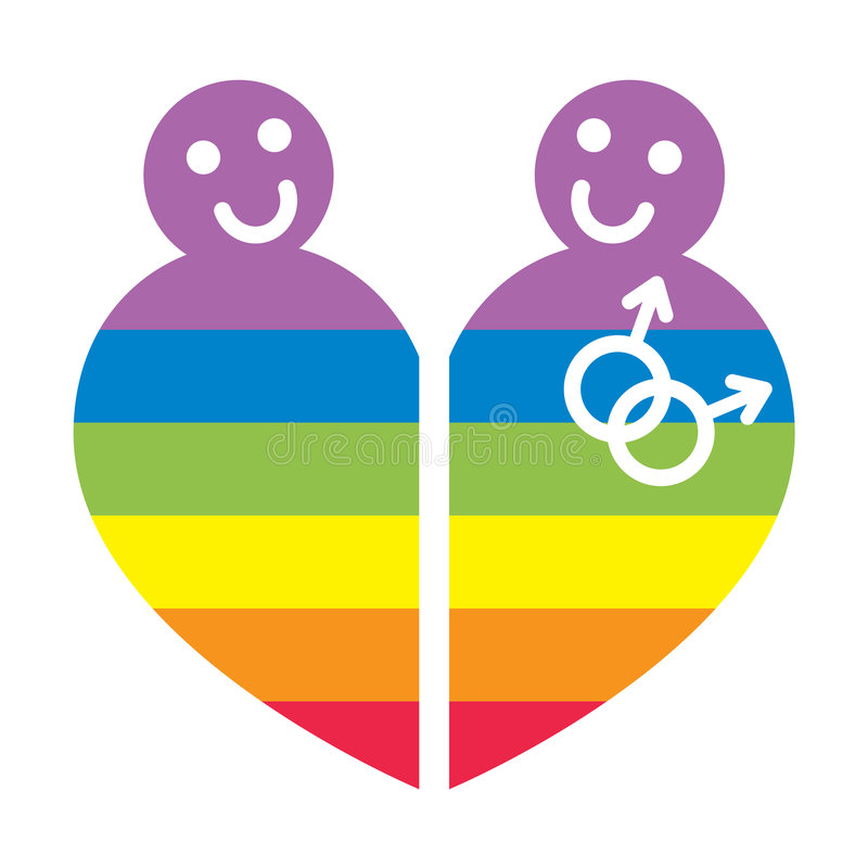 Gay symbol. Illustration of gay symbol in rainbow heart form isolated over white background stock illustration