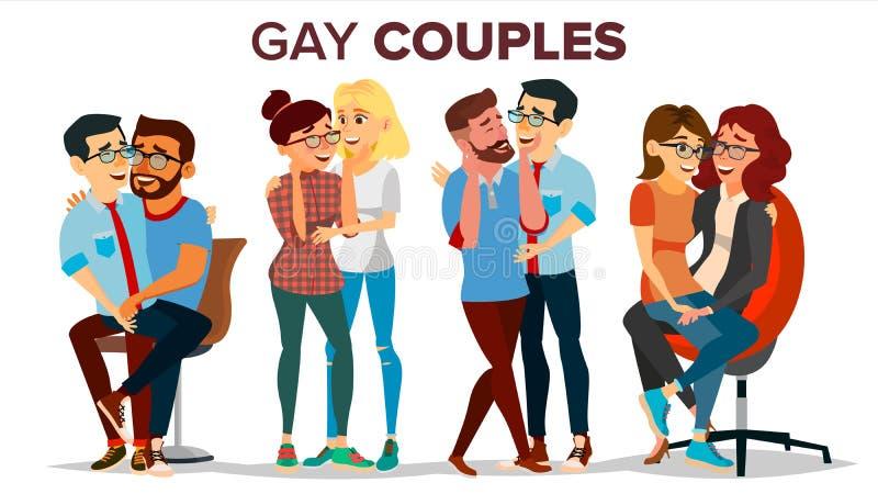 Gay, vector determinado de los pares lesbianos Abrazo de hombres y de mujeres La misma unión del sexo Relación homosexual románti ilustración del vector