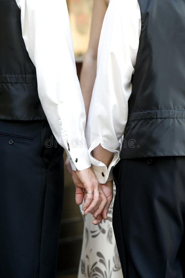 Gay Wedding Couple Holding Hands royalty free stock photo