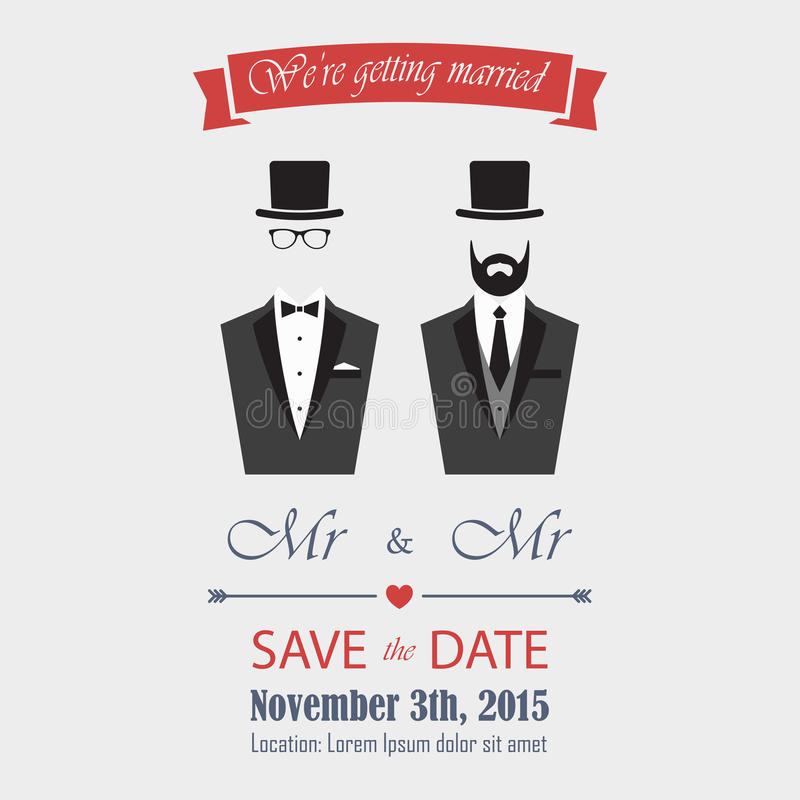Gay Wedding Invitation stock illustration