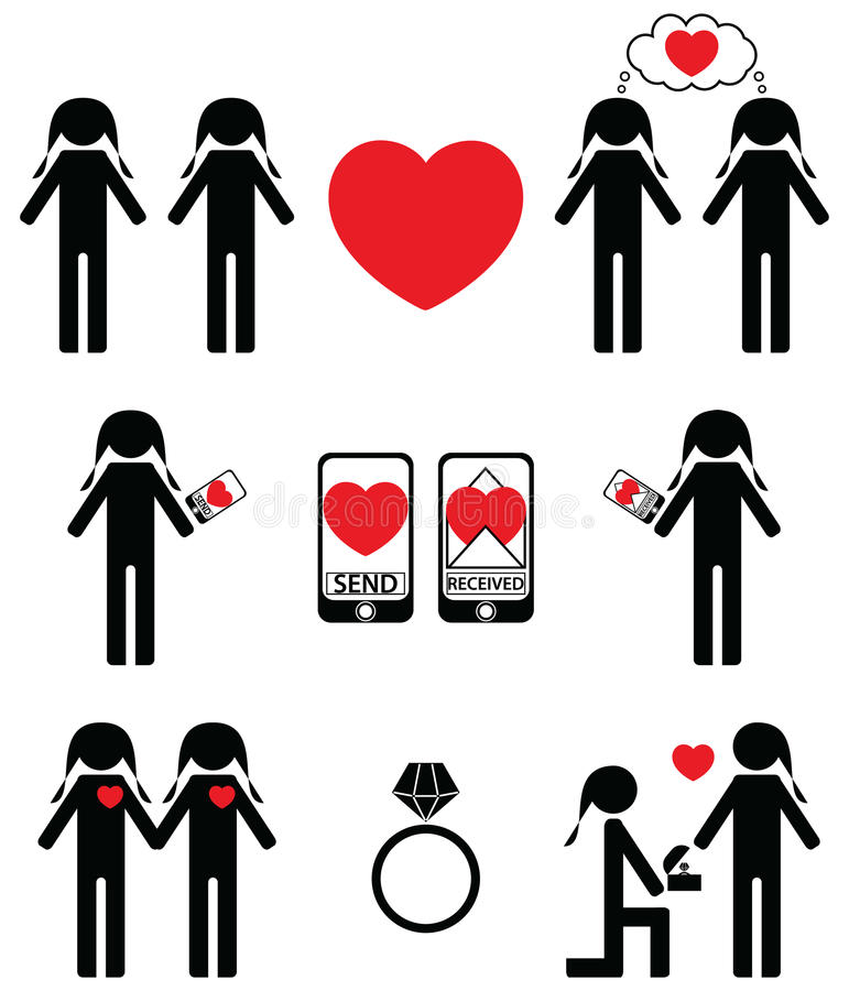 Gay women falling in love and engagement icons set vector illustration