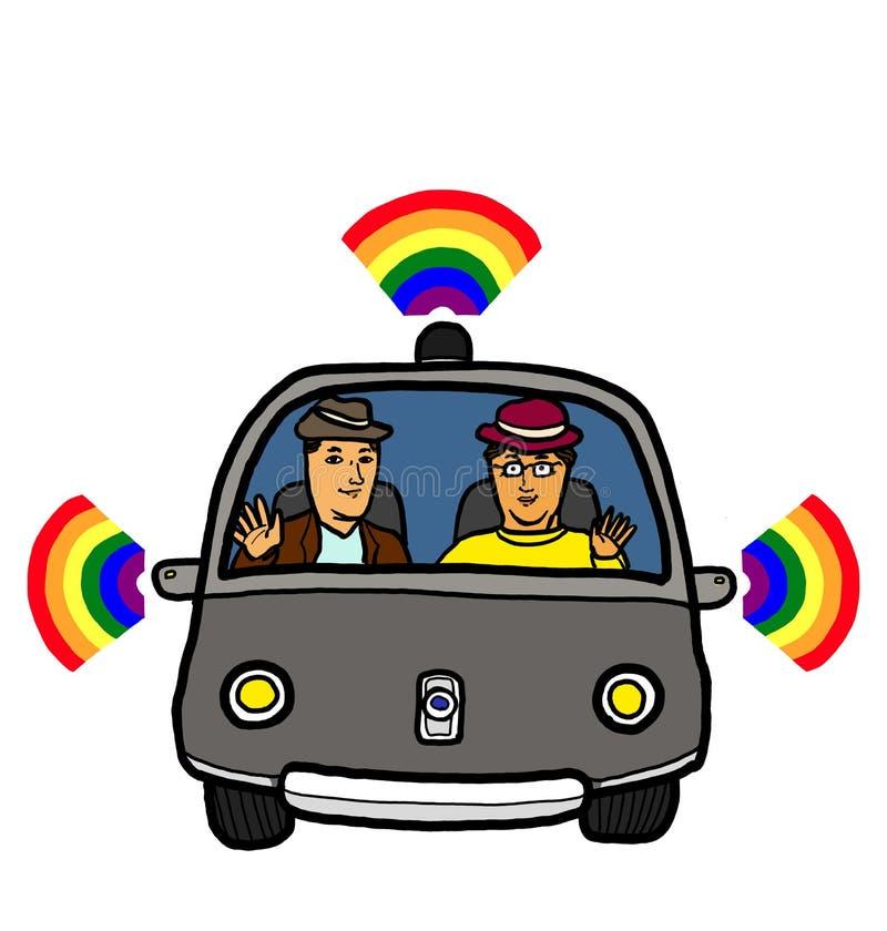 Gaydar. Two adults gay homosexual men sitting in a self-driving car vehicle with Gaydar radar sensor sending gay pride rainbow signal vector illustration