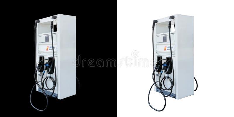 Gaz de pompe à essence d'isolement sur le fond noir et blanc image stock