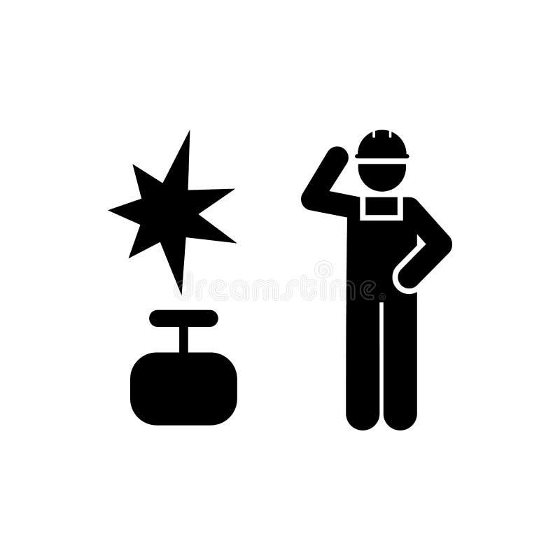 Gaz, industrie, homme, travailleur, icône du travail ?l?ment d'ic?ne de fabrication Ic?ne de la meilleure qualit? de conception g illustration de vecteur