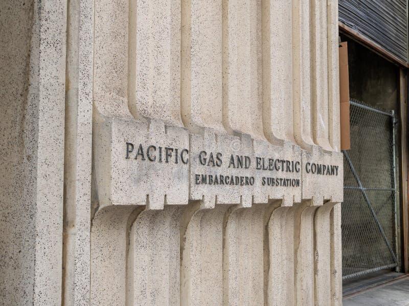 Gaz Pacifique et emplacement électrique de PG&E situés à San Francisco photographie stock libre de droits