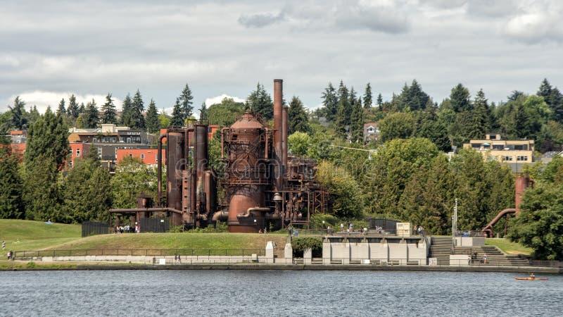 Gaz pracy park, Seattle, Waszyngton, na miejscu poprzednia Seattle Lekkiej firmy gazyfikacji Benzynowa roślina obraz stock