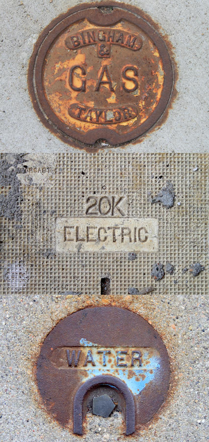 Gaz public, électrique, illustration d'utilités de l'eau