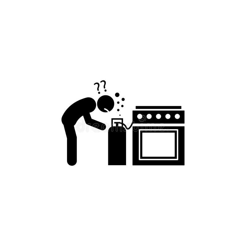 gaz, zagrożenie, domowa ikona Element ludzka niebezpieczeństwo znaka ikona dla mobilnych pojęcia i sieci apps Szczegółowy gaz, za royalty ilustracja