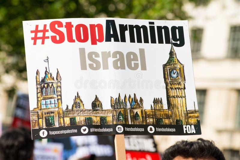 Gaza: Houd de verzameling van het Slachtingsprotest in Whitehall, Londen, het UK tegen royalty-vrije stock afbeeldingen