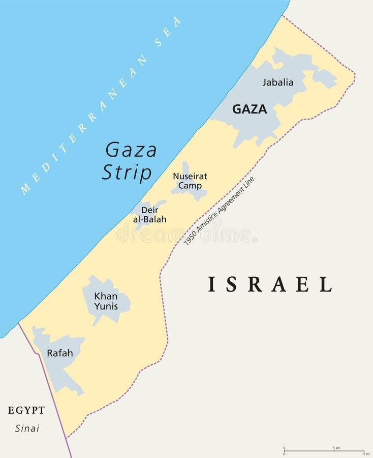 Gaza paska polityczna mapa royalty ilustracja