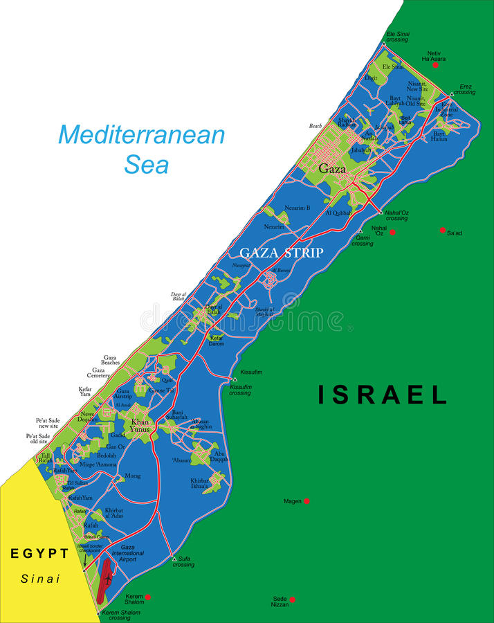 Gaza Strip map. Highly detailed vector map of Gaza Strip with administrative regions, main cities and roads vector illustration
