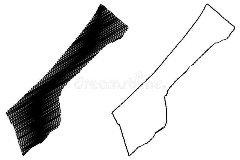 Gaza strip map vector. Illustration, scribble sketch Gaza strip royalty free illustration