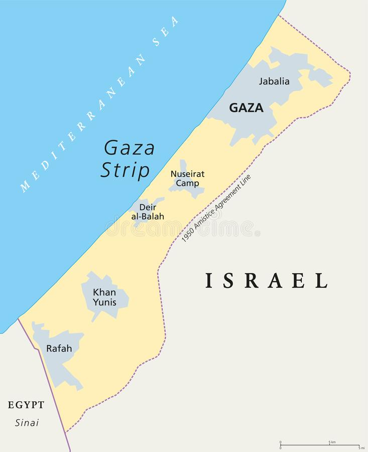 Gaza Strip political map. Self governing Palestinian territory on the coast of Mediterranean Sea that borders to Israel and Egypt. Claimed by State of royalty free illustration