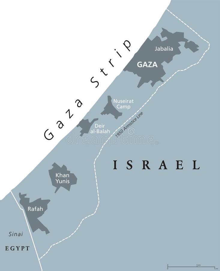 Gaza Strip political map gray. Gaza Strip political map. Self governing Palestinian territory on coast of Mediterranean Sea. Borders to Israel and Egypt. Claimed stock illustration