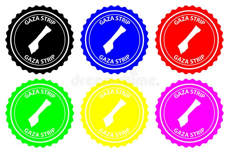 Gaza Strip rubber stamp. Gaza Strip - rubber stamp - vector, Gaza Strip map pattern - sticker - black, blue, green, yellow, purple and red stock illustration