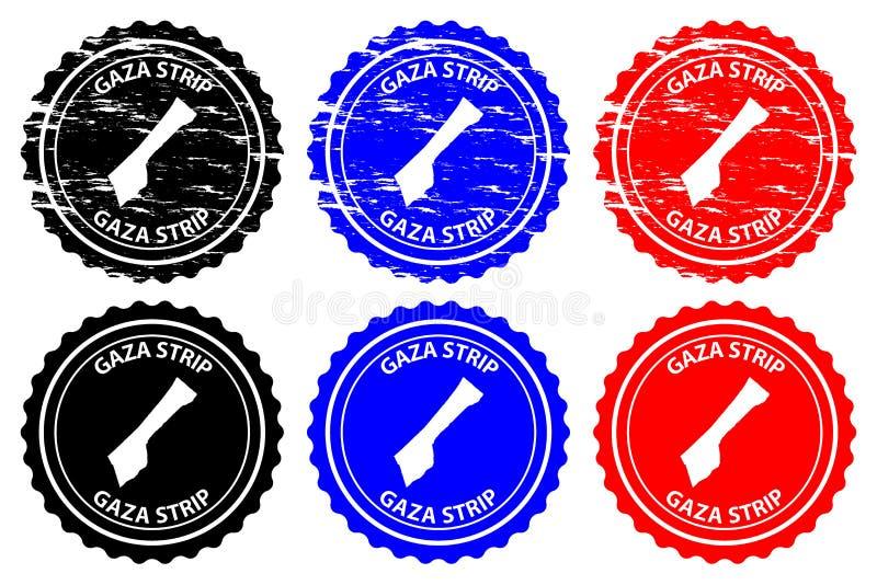 Gaza Strip rubber stamp. Gaza Strip - rubber stamp - vector, Gaza Strip map pattern - sticker - black, blue and red vector illustration