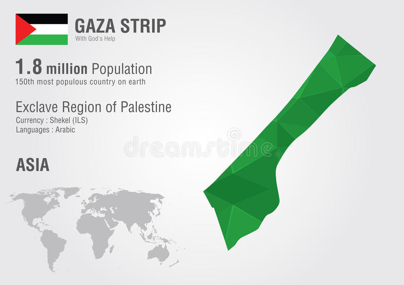 Gaza strip world map woth a pixel diamond texture. World Geography vector illustration