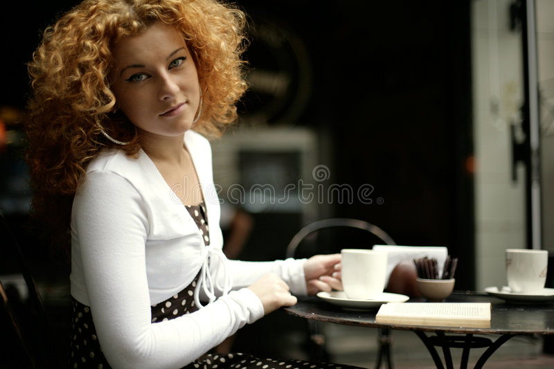 Download Gaze Of A Young Woman In A Street Cafe Stock Photo - Image: 4777618