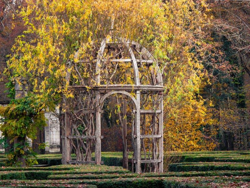 Gazebo στους κήπους του πύργου Chenonceau, Παρίσι στοκ εικόνες