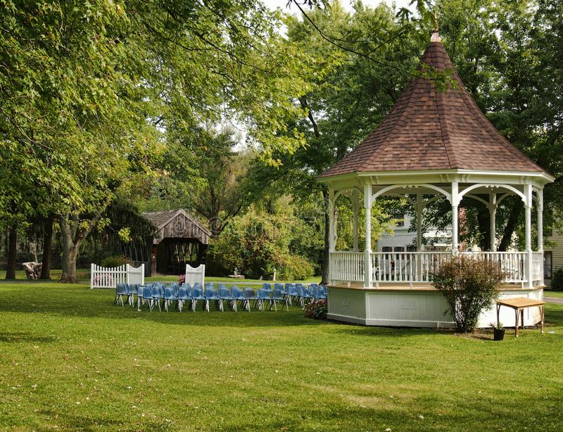Gazebo at The Americana Villlage. Hamilton, New York, USA. September 17, 2017. The Americana Villlage, a copy of a nineteenth century village, on the western royalty free stock image