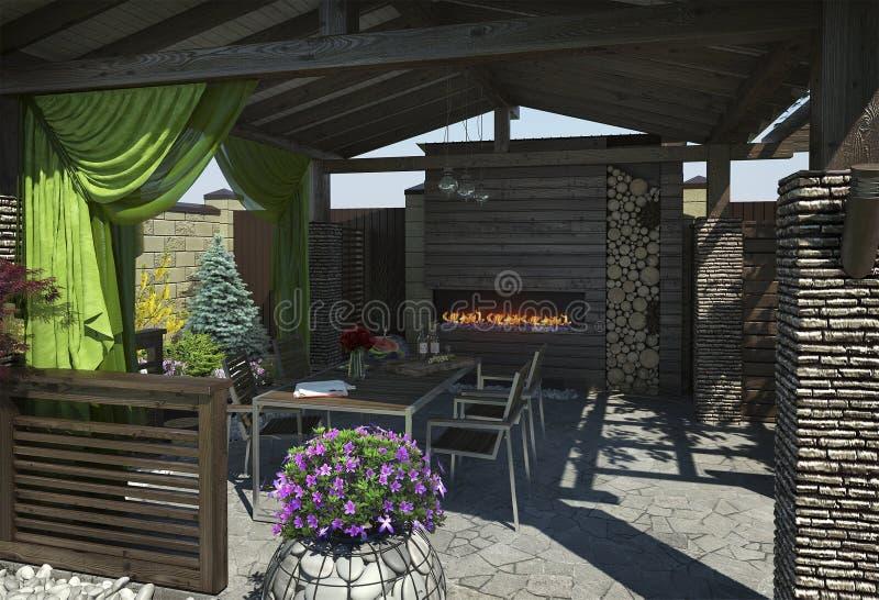 Gazebo binnenlands uitnodigen, 3D geeft terug stock illustratie