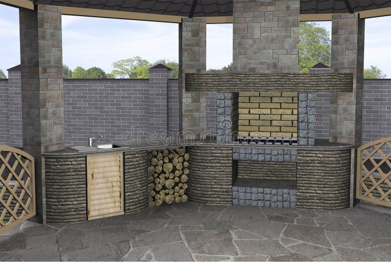 Gazebo binnenlands uitnodigen, 3D geeft terug royalty-vrije illustratie