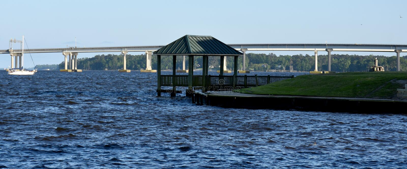 Gazebo and Bridge in New Bern, NC stock photo
