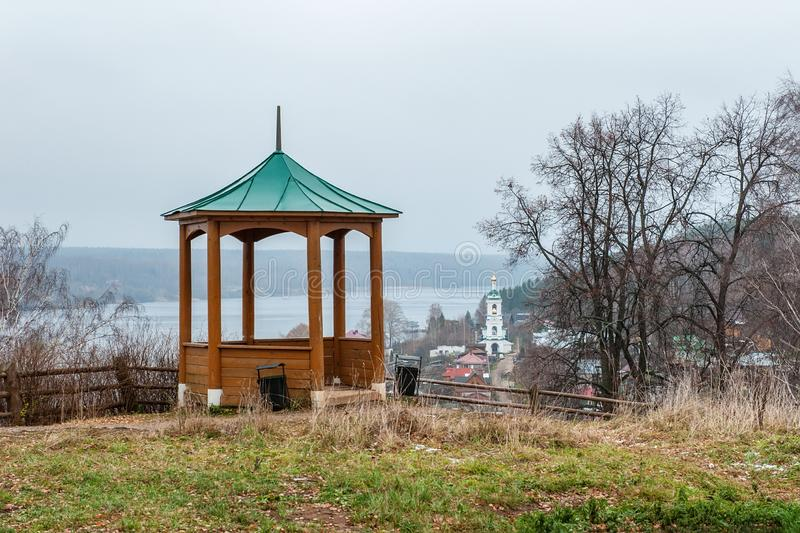 Gazebo on the Cathedral hill of the city of ples old Russian city on the Volga in late autumn. The city is associated with the. Great Russian artist Levitan stock images