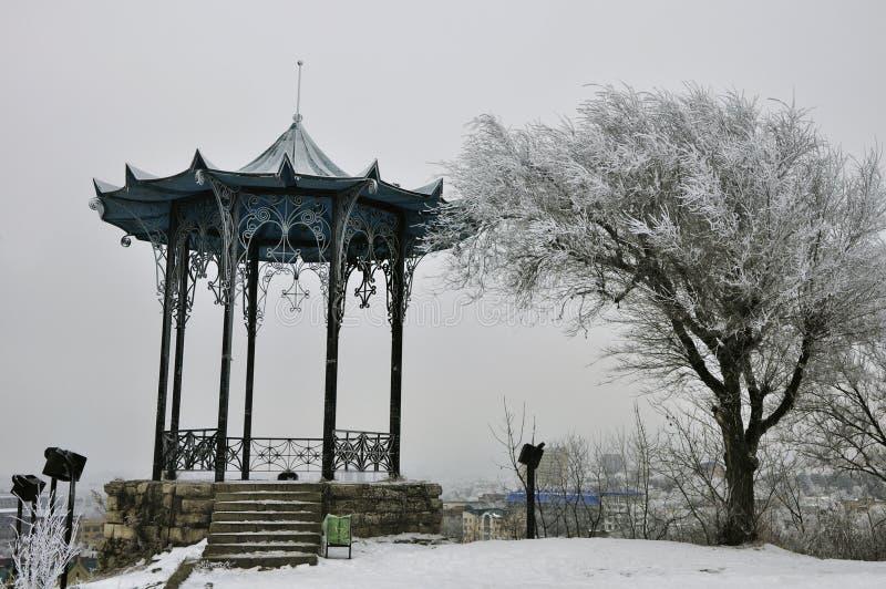 Gazebo cinese nella neve nell'inverno fotografia stock