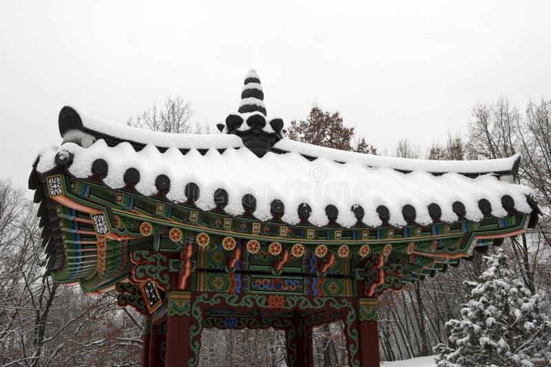 Gazebo coreano tradicional del jardín imágenes de archivo libres de regalías