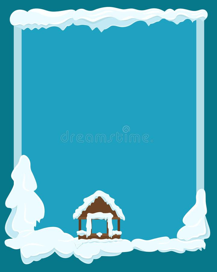 Gazebo Covered with Snow Winter Scene Illustration. Winter landscape with gazebo and fir trees covered with snow on dark sky background. Picture for winter royalty free illustration
