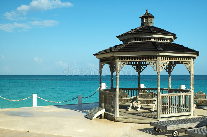 Gazebo facing the ocean royalty free stock photos