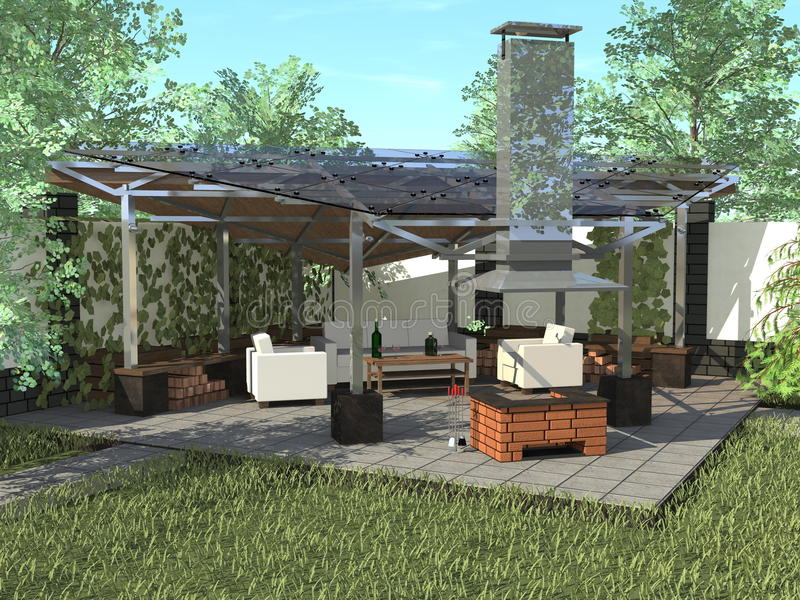 Gazebo with a fireplace on a summer day royalty free stock photos