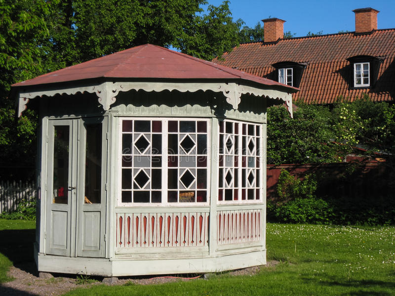 Gazebo in Gamla Linkoping. Linkoping. Sweden. A Gazebo in Gamla Linkoping Friluftsmuseet (Old Linkoping open-air museum royalty free stock photo