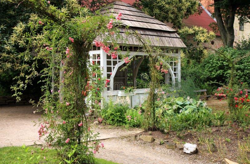 Gazebo in the garden. Ratiborice, Czech Republic. stock images