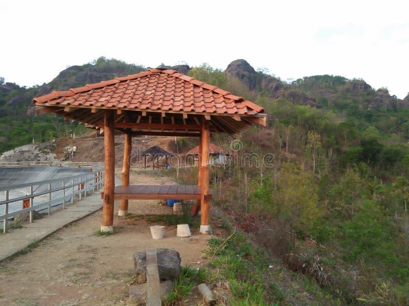 Gazebo is gevoerd met een bergachtergrond stock afbeeldingen