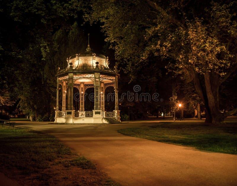 Gazebo i en parkera på natten royaltyfri foto