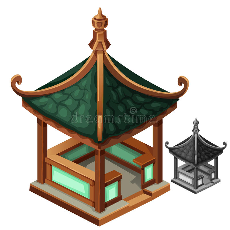 Gazebo i orientalisk stil med det gröna taket vektor illustrationer