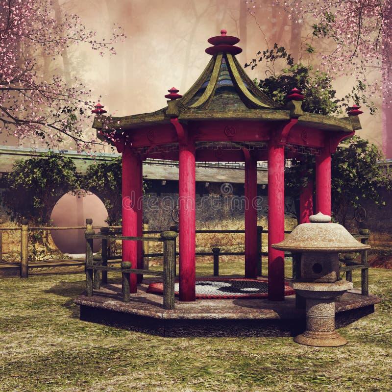 Gazebo oriental en un jardín ilustración del vector