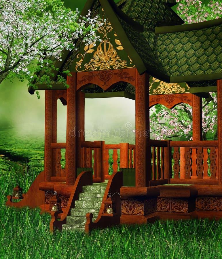 Gazebo oriental en un prado libre illustration