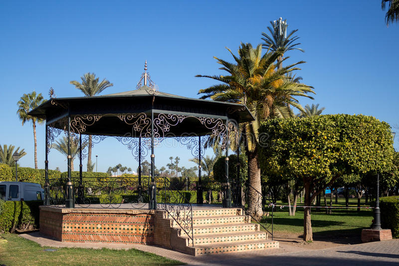Gazebo in a park stock photos