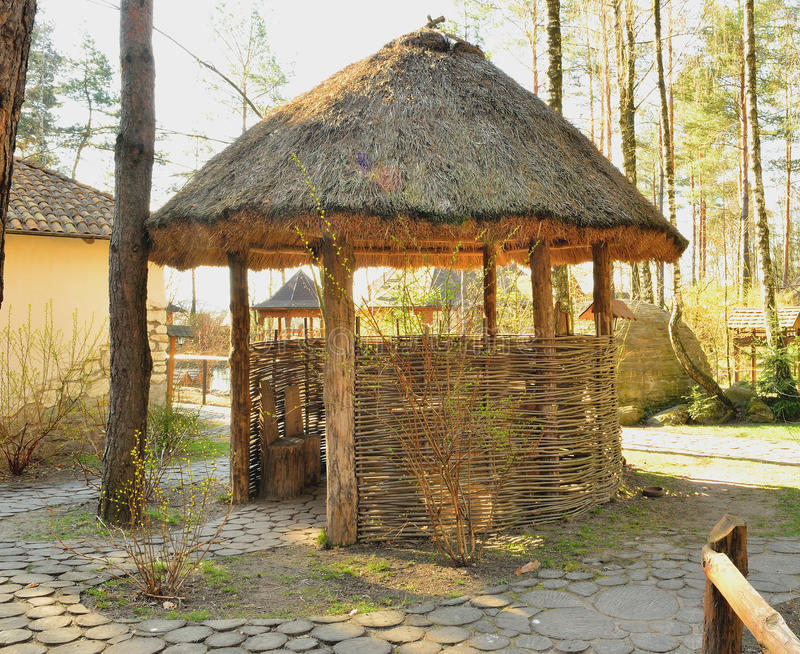 Download Gazebo In The Peasant Style Stock Image - Image of wood, straw: 39508403