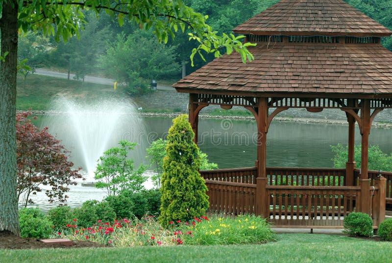 Gazebo On The Pond royalty free stock images