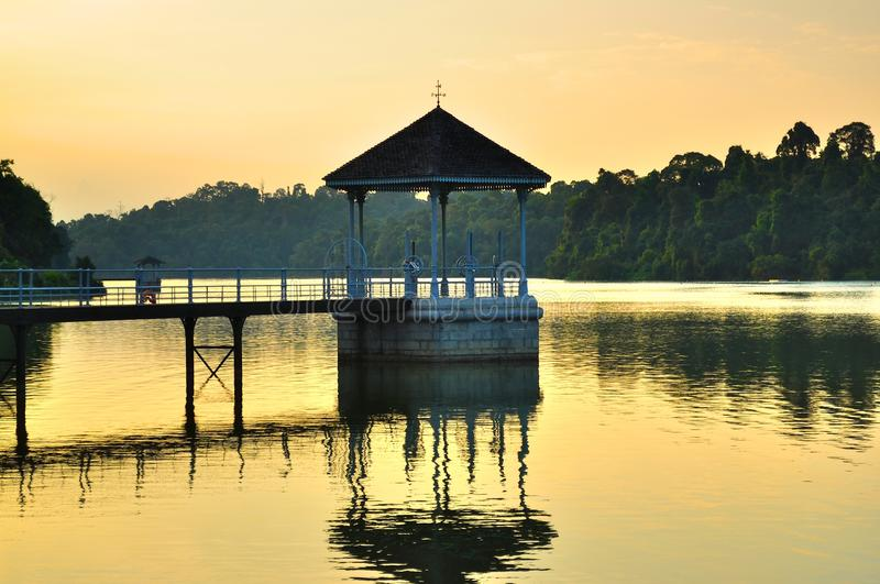 Download A Gazebo At The Reservoir On Sunset Stock Photo - Image: 17123532
